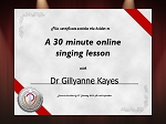 Lesson Voucher 30 minutes Dr Gillyanne Kayes